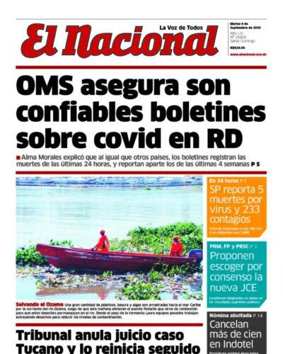 Portada Periódico El Nacional, Martes 08 de Septiembre, 2020