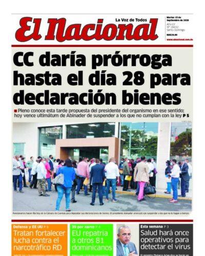 Portada Periódico El Nacional, Martes 15 de Septiembre, 2020