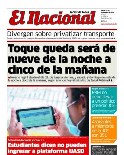 Portada Periódico El Nacional, Martes 22 de Septiembre, 2020