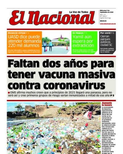Portada Periódico El Nacional, Miércoles 09 de Septiembre, 2020
