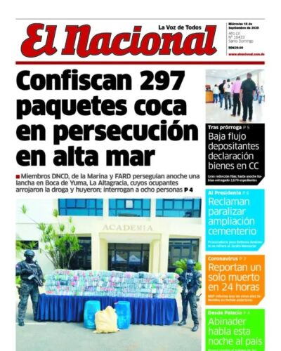 Portada Periódico El Nacional, Miércoles 16 de Septiembre, 2020