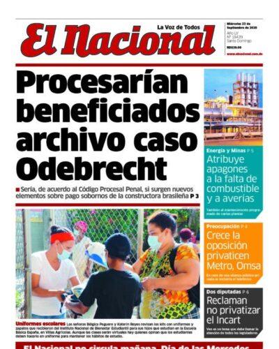 Portada Periódico El Nacional, Miércoles 23 de Septiembre, 2020
