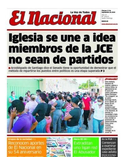 Portada Periódico El Nacional, Viernes 11 de Septiembre, 2020