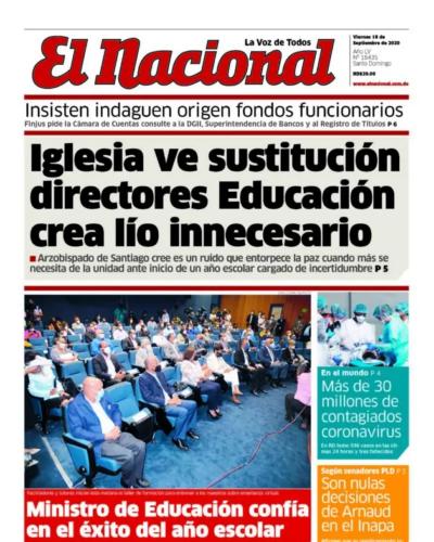 Portada Periódico El Nacional, Viernes 18 de Septiembre, 2020