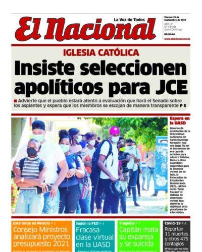 Portada Periódico El Nacional, Viernes 25 de Septiembre, 2020