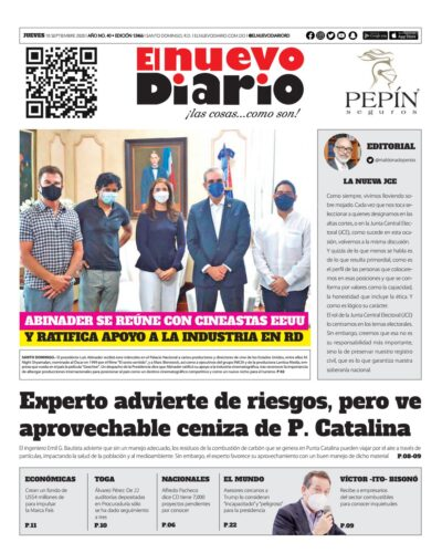 Portada Periódico El Nuevo Diario, Jueves 10 de Septiembre, 2020
