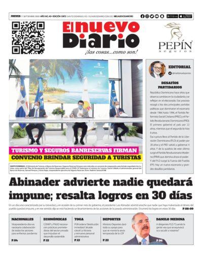Portada Periódico El Nuevo Diario, Jueves 17 de Septiembre, 2020