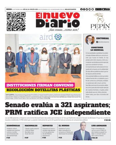 Portada Periódico El Nuevo Diario, Jueves 24 de Septiembre, 2020