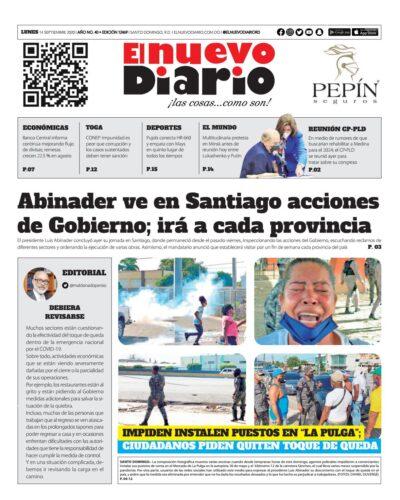 Portada Periódico El Nuevo Diario, Lunes 14 de Septiembre, 2020