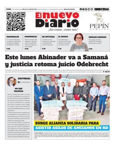Portada Periódico El Nuevo Diario, Lunes 21 de Septiembre, 2020