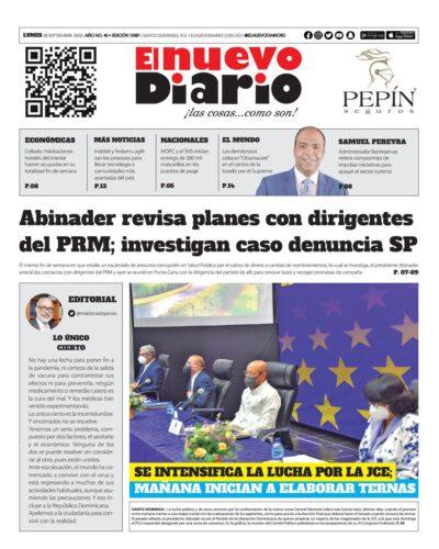 Portada Periódico El Nuevo Diario, Lunes 28 de Septiembre, 2020