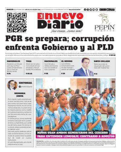 Portada Periódico El Nuevo Diario, Martes 08 de Septiembre, 2020