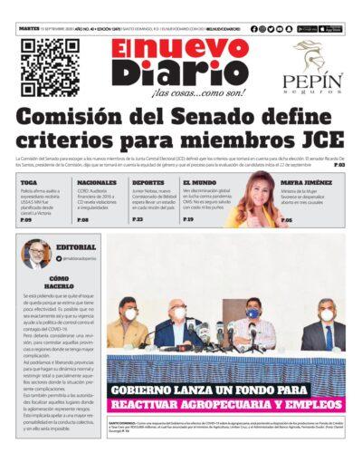 Portada Periódico El Nuevo Diario, Martes 15 de Septiembre, 2020