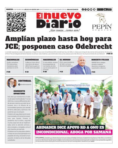 Portada Periódico El Nuevo Diario, Martes 22 de Septiembre, 2020