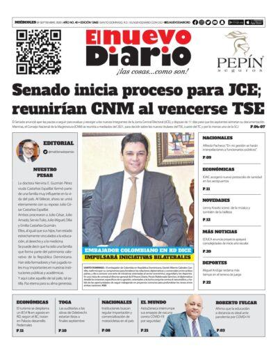 Portada Periódico El Nuevo Diario, Miércoles 09 de Septiembre, 2020
