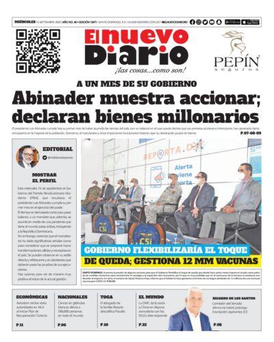 Portada Periódico El Nuevo Diario, Miércoles 16 de Septiembre, 2020