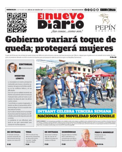 Portada Periódico El Nuevo Diario, Miércoles 23 de Septiembre, 2020