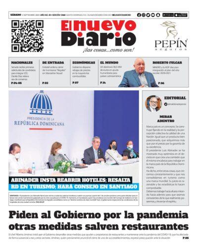 Portada Periódico El Nuevo Diario, Sábado 12 de Septiembre, 2020
