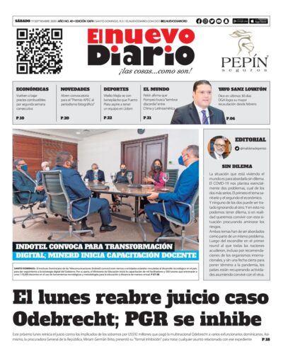 Portada Periódico El Nuevo Diario, Sábado 19 de Septiembre, 2020
