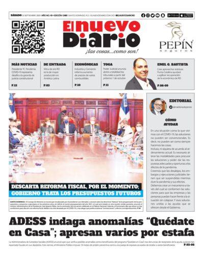 Portada Periódico El Nuevo Diario, Sábado 26 de Septiembre, 2020