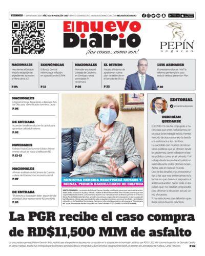 Portada Periódico El Nuevo Diario, Viernes 11 de Septiembre, 2020
