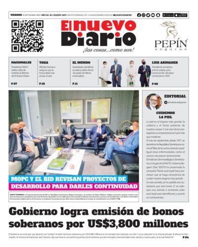 Portada Periódico El Nuevo Diario, Viernes 18 de Septiembre, 2020