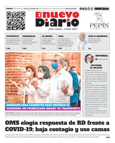 Portada Periódico El Nuevo Diario, Viernes 25 de Septiembre, 2020