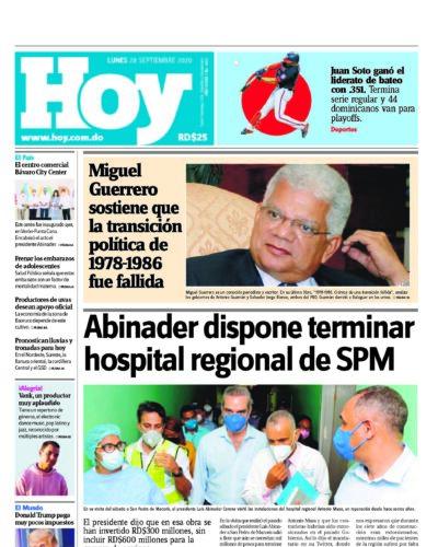 Portada Periódico Hoy, Lunes 28 de Septiembre, 2020
