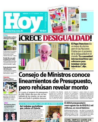 Portada Periódico Hoy, Sábado 26 de Septiembre, 2020