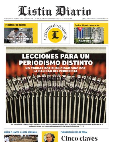 Portada Periódico Listín Diario, Domingo 27 de Septiembre, 2020