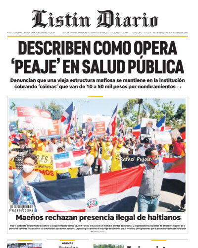 Portada Periódico Listín Diario, Lunes 28 de Septiembre, 2020