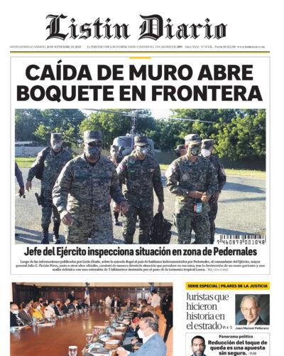 Portada Periódico Listín Diario, Sábado 26 de Septiembre, 2020