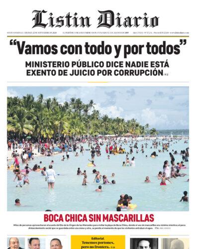 Portada Periódico Listín Diario, Viernes 25 de Septiembre, 2020