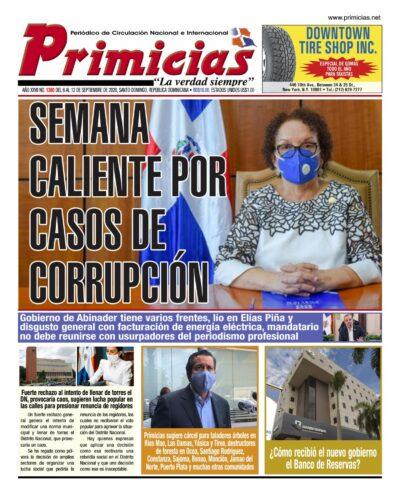 Portada Periódico Primicias, Lunes 07 de Septiembre, 2020