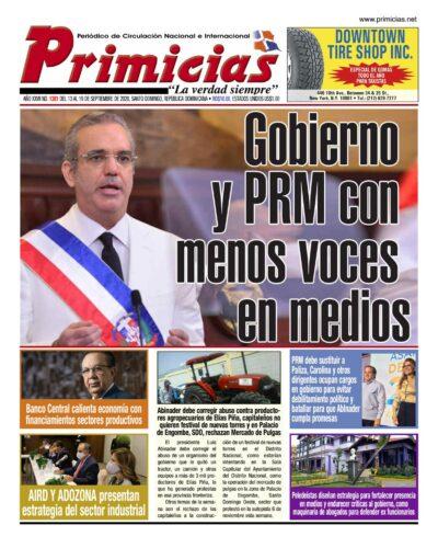 Portada Periódico Primicias, Lunes 14 de Septiembre, 2020