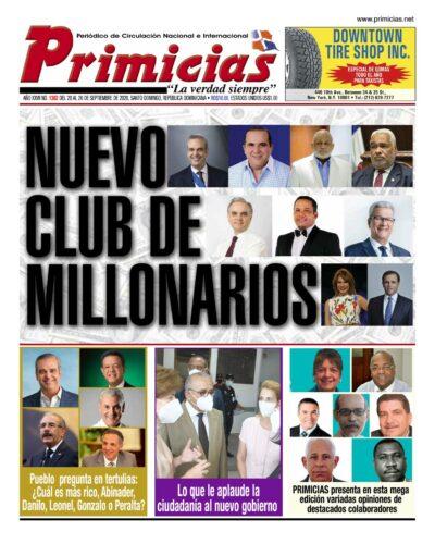 Portada Periódico Primicias, Lunes 21 de Septiembre, 2020