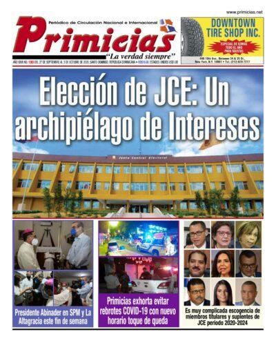 Portada Periódico Primicias, Lunes 28 de Septiembre, 2020