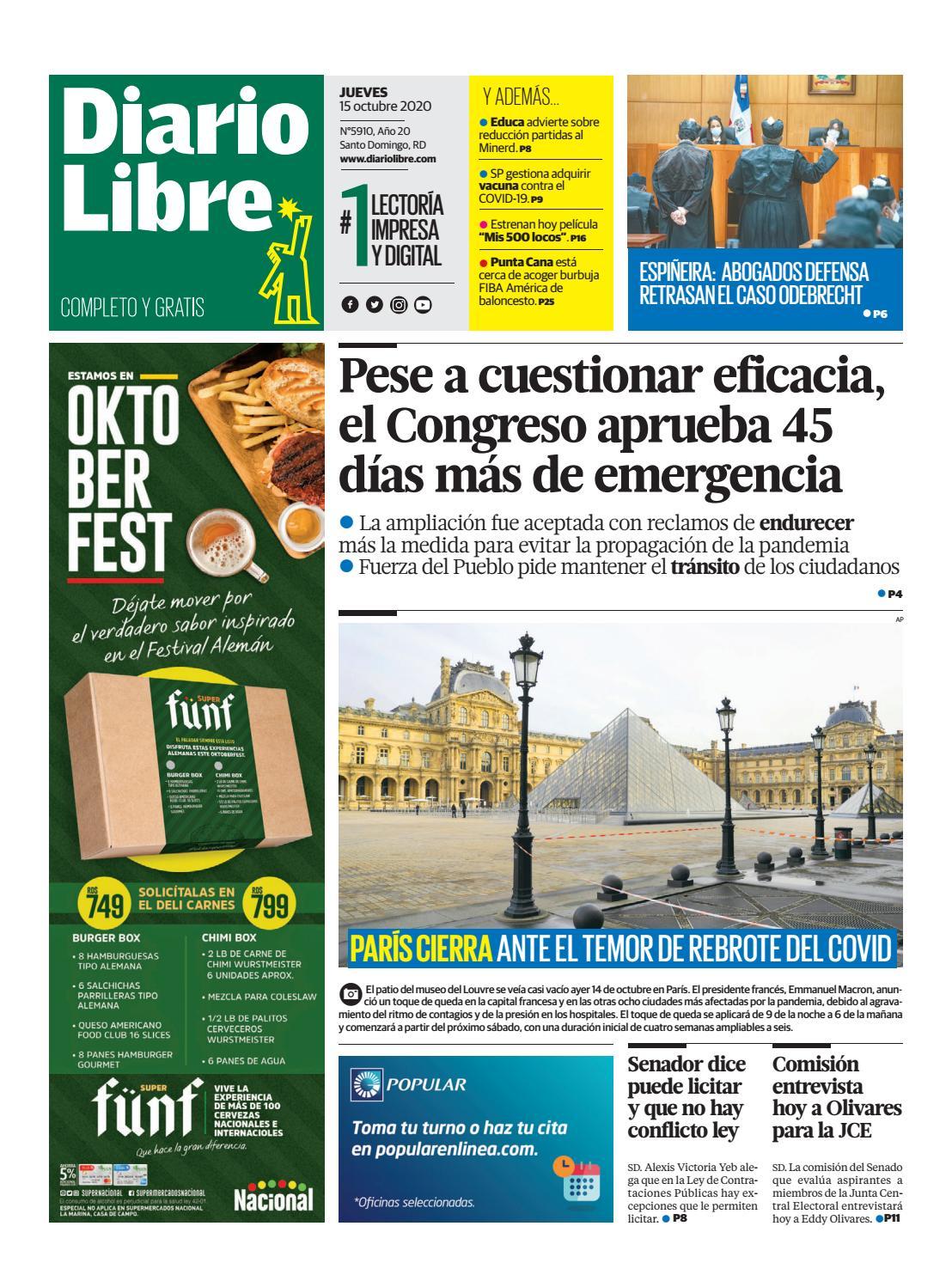 Portada Periódico Diario Libre, Jueves 15 de Octubre, 2020