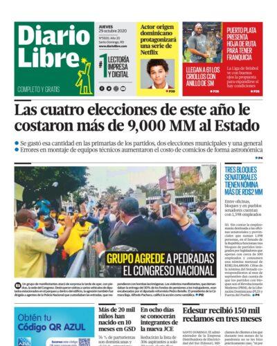 Portada Periódico Diario Libre, Jueves 29 de Octubre, 2020