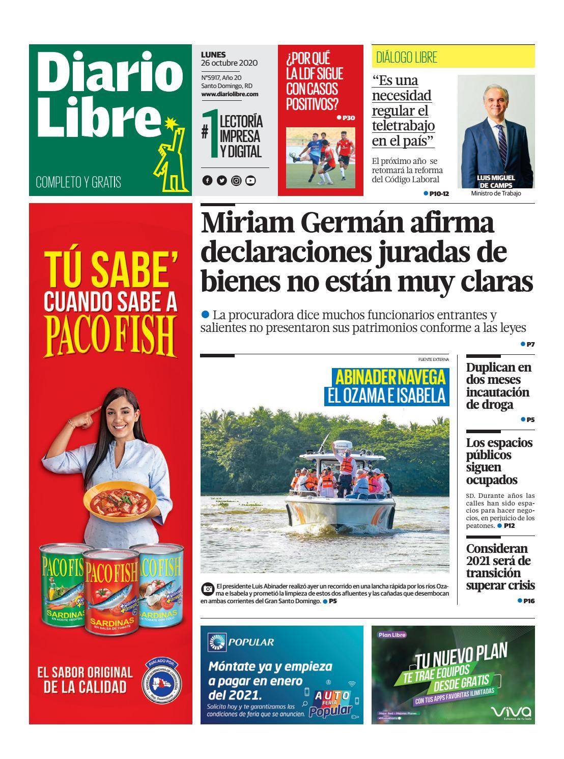 Portada Periódico Diario Libre, Lunes 26 de Octubre, 2020