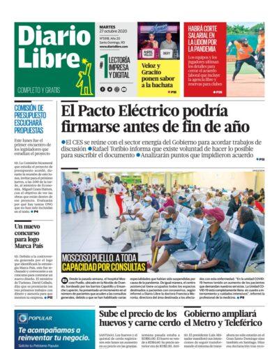 Portada Periódico Diario Libre, Martes 27 de Octubre, 2020