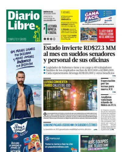 Portada Periódico Diario Libre, Miércoles 28 de Octubre, 2020