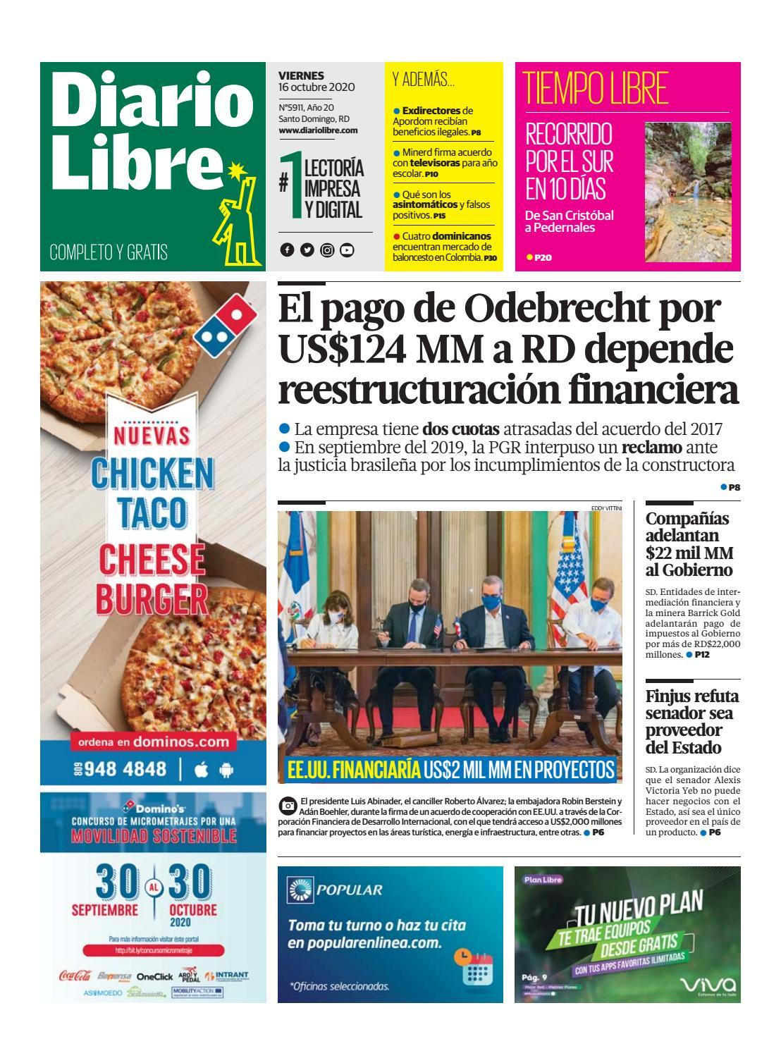 Portada Periódico Diario Libre, Viernes 16 de Octubre, 2020
