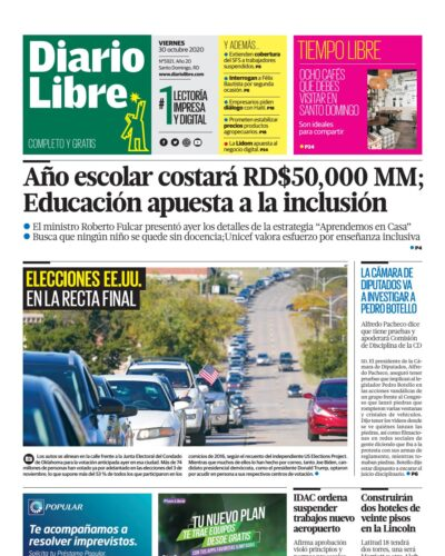 Portada Periódico Diario Libre, Viernes 30 de Octubre, 2020