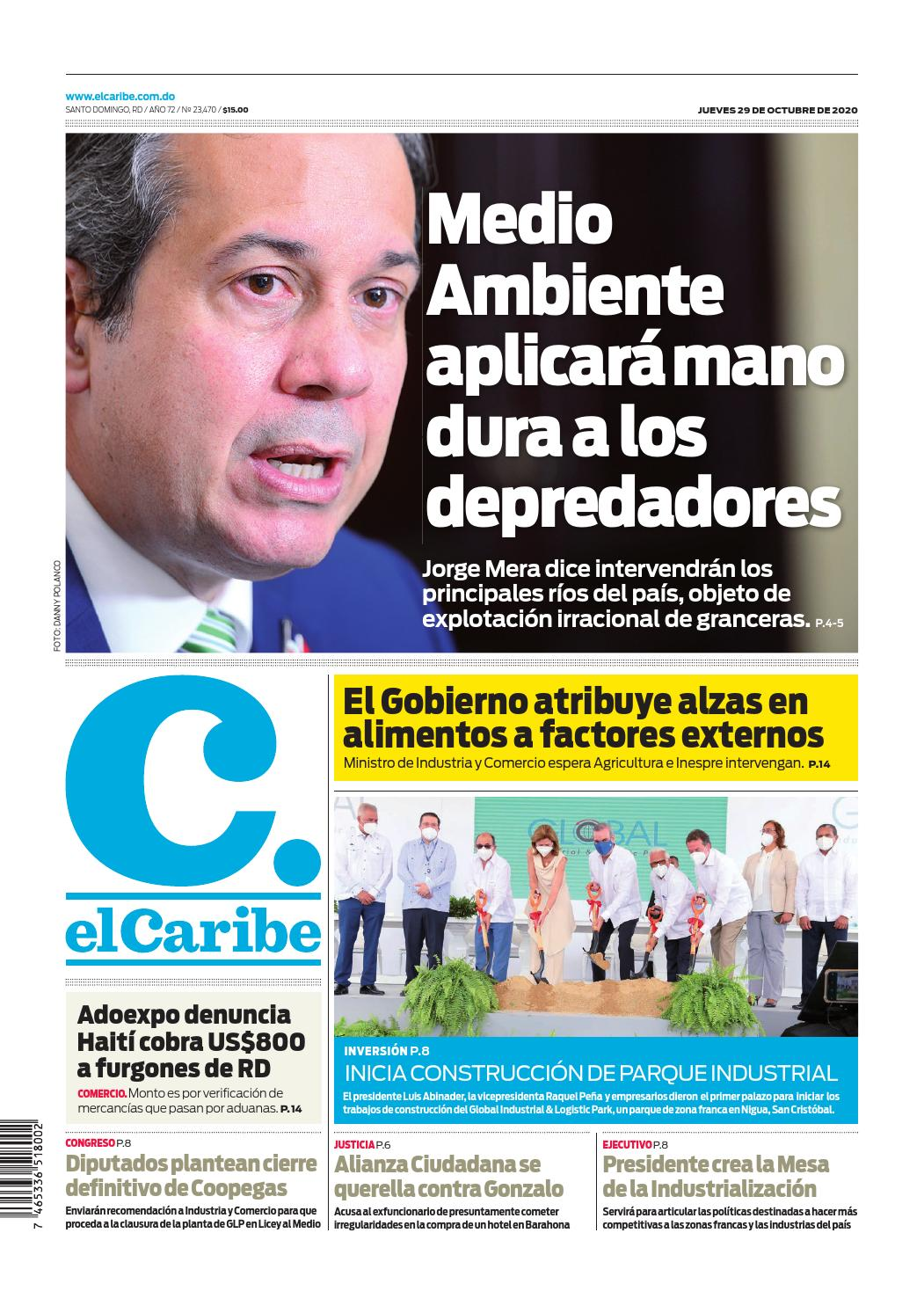 Portada Periódico El Caribe, Jueves 29 de Octubre, 2020
