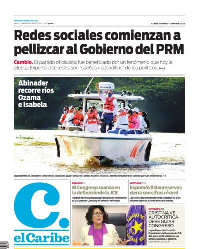 Portada Periódico El Caribe, Lunes 26 de Octubre, 2020