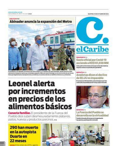 Portada Periódico El Caribe, Martes 27 de Octubre, 2020