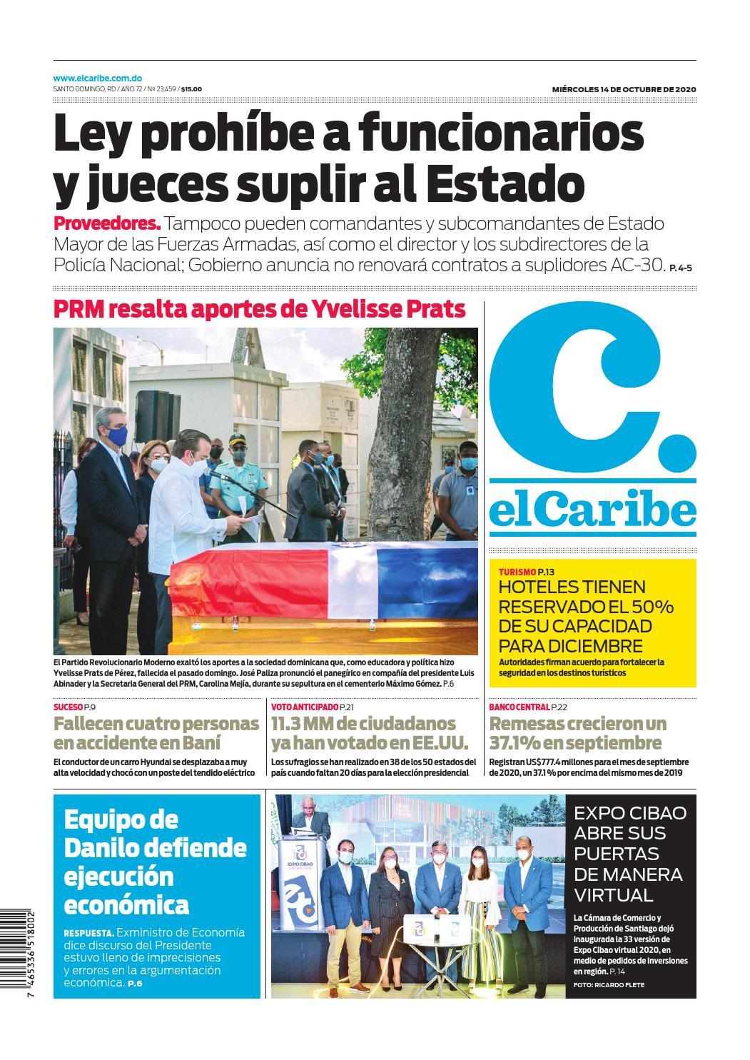Portada Periódico El Caribe, Miércoles 14 de Octubre, 2020