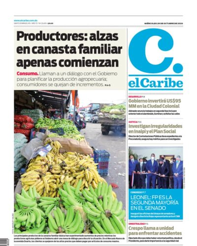 Portada Periódico El Caribe, Miércoles 28 de Octubre, 2020