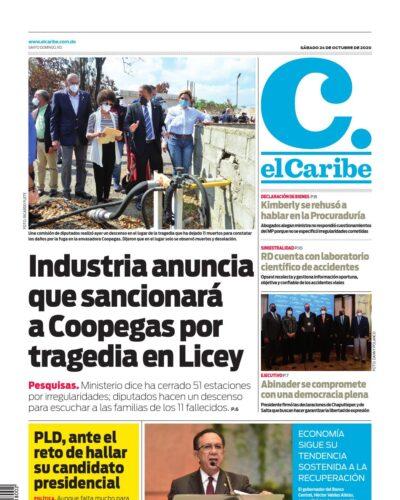 Portada Periódico El Caribe, Sábado 24 de Octubre, 2020